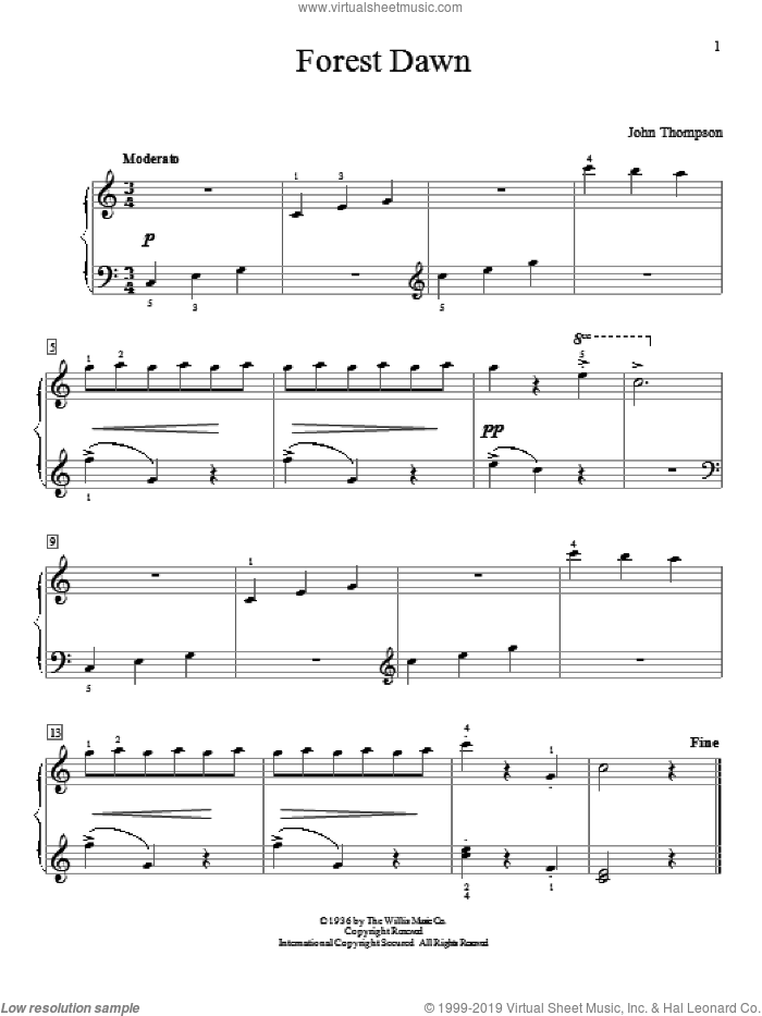 Forest Dawn sheet music for piano solo (elementary) by John Thompson, beginner piano (elementary)