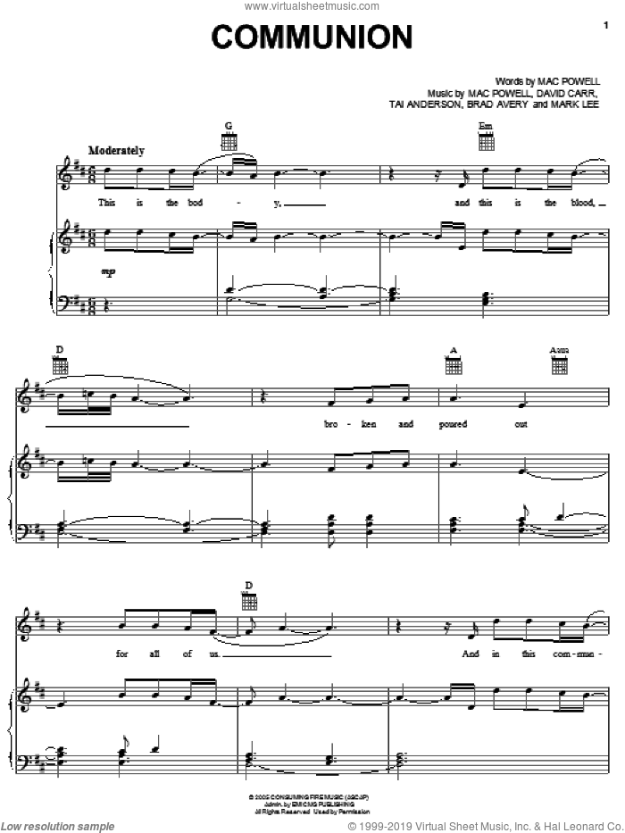 Communion sheet music for voice, piano or guitar by Third Day, Brad Avery, David Carr, Mac Powell, Mark Lee and Tai Anderson, intermediate skill level