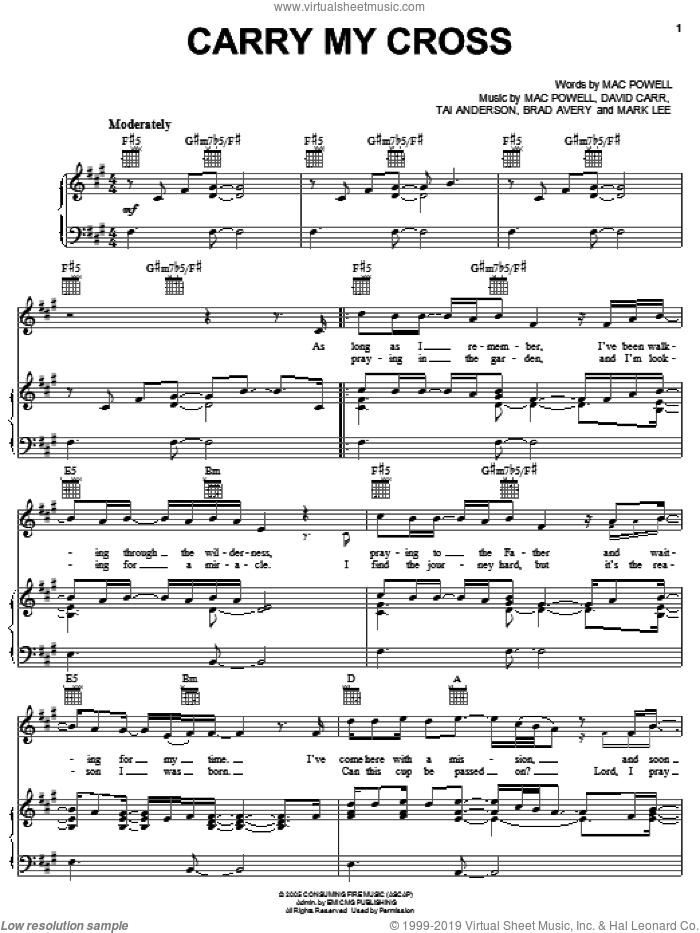 Carry My Cross sheet music for voice, piano or guitar by Third Day, Brad Avery, David Carr, Mac Powell, Mark Lee and Tai Anderson, intermediate skill level