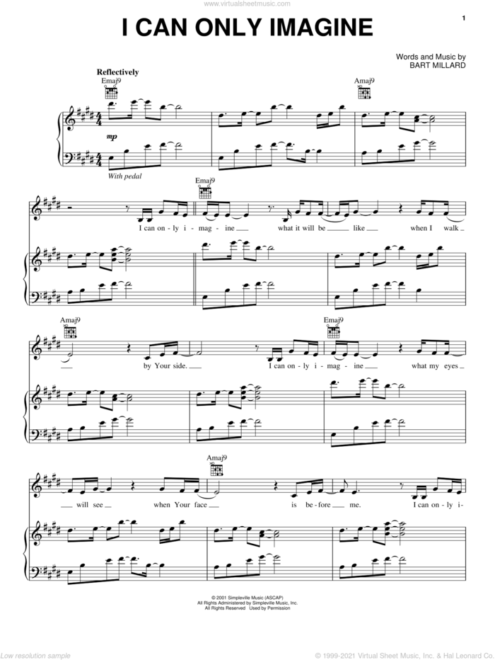 I Can Only Imagine sheet music for voice and piano by MercyMe, intermediate skill level