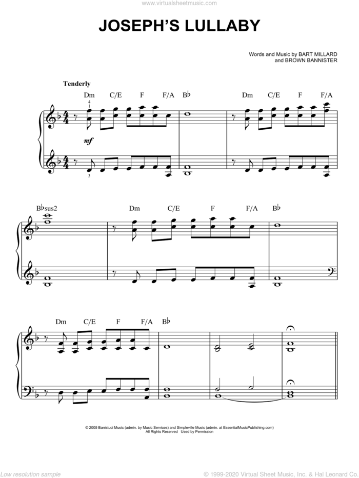 Joseph's Lullaby sheet music for piano solo by MercyMe, easy skill level