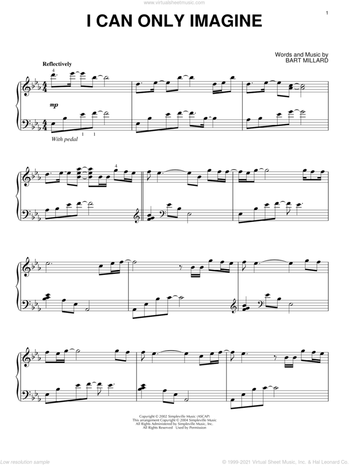 I Can Only Imagine sheet music for piano solo by MercyMe, intermediate skill level
