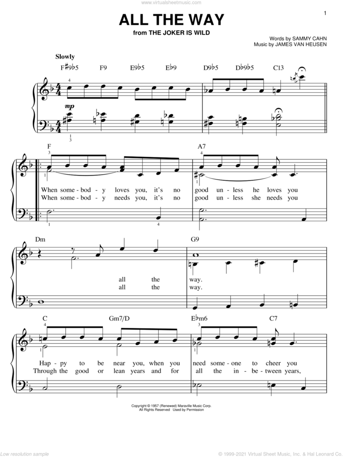 All The Way sheet music for piano solo by Frank Sinatra, Kenny G, Jimmy van Heusen and Sammy Cahn, wedding score, easy skill level