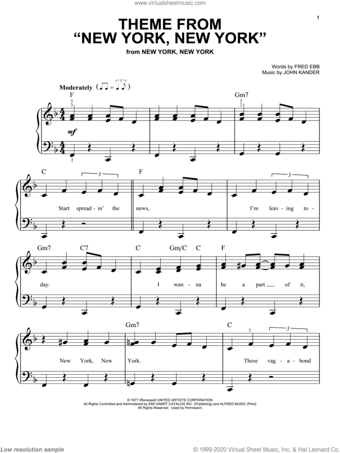 Theme From 'New York, New York', (easy) sheet music for piano solo by Frank Sinatra, Kander & Ebb, Liza Minnelli, Fred Ebb and John Kander, easy skill level
