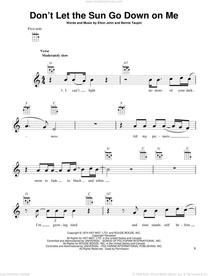 Don't Let The Sun Go Down On Me sheet music for ukulele by Elton John, intermediate skill level