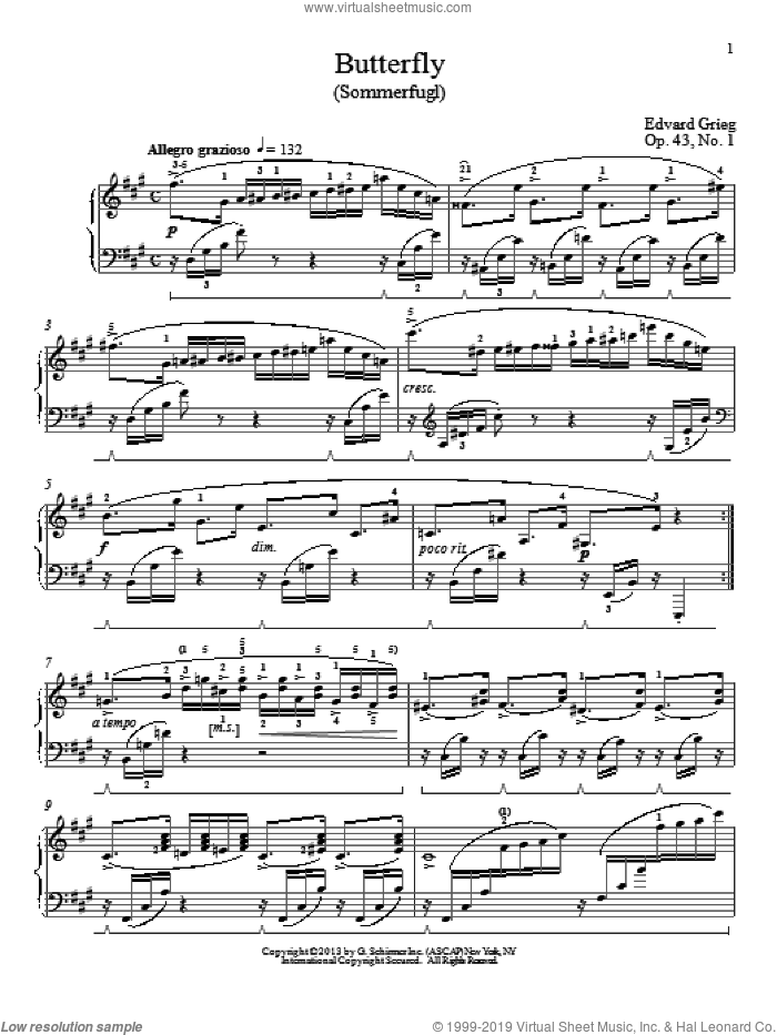 Butterfly (Sommerfugl), Op. 43, No. 1 sheet music for piano solo by Edvard Grieg and William Westney, classical score, intermediate skill level