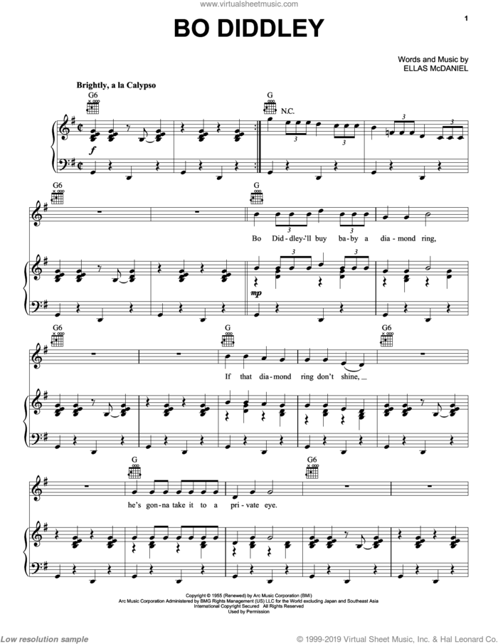 Bo Diddley sheet music for voice, piano or guitar by Bo Diddley and Ellas McDaniels, intermediate skill level
