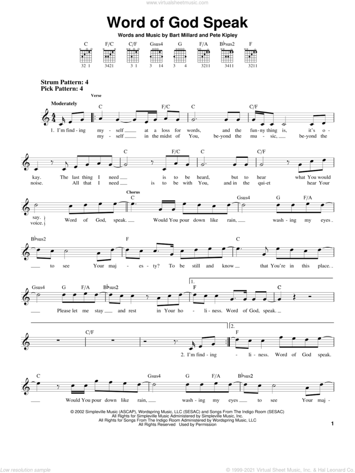Word Of God Speak sheet music for guitar solo (chords) by MercyMe, Bart Millard, Kutless and Pete Kipley, easy guitar (chords)