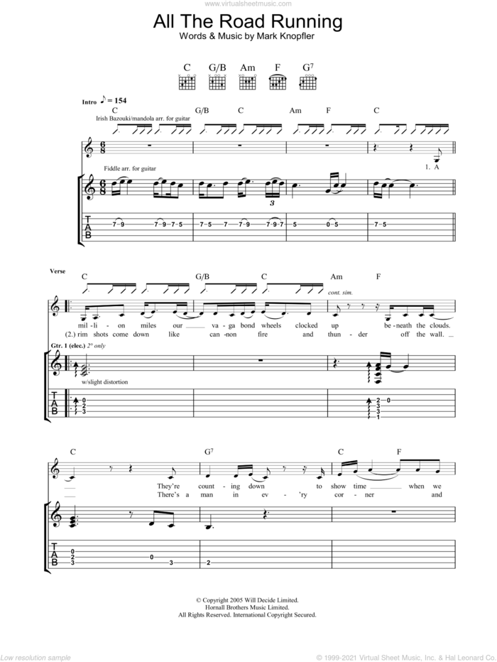 All The Road Running sheet music for guitar (tablature) by Mark Knopfler and Emmylou Harris, intermediate skill level