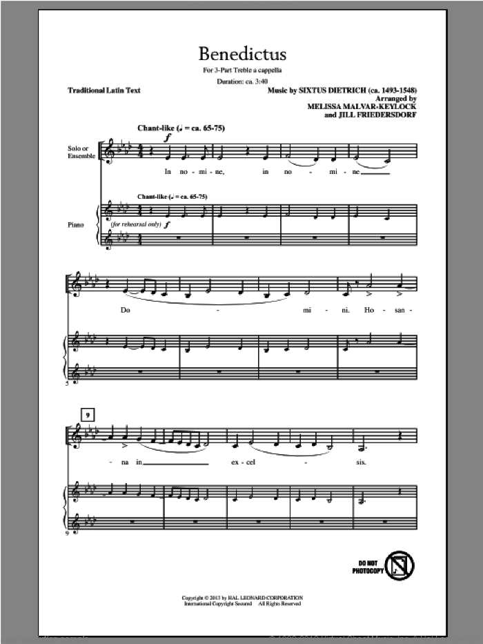 Benedictus sheet music for choir (3-Part Treble) by Melissa Malvar-Keylock, Jill Friedersdorf and Jill Friedersdorf and Melissa Malvar-Keylock, intermediate skill level