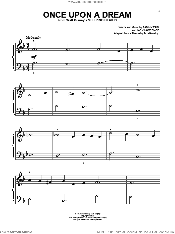 Once Upon A Dream sheet music for piano solo (big note book) by Sammy Fain and Jack Lawrence, easy piano (big note book)