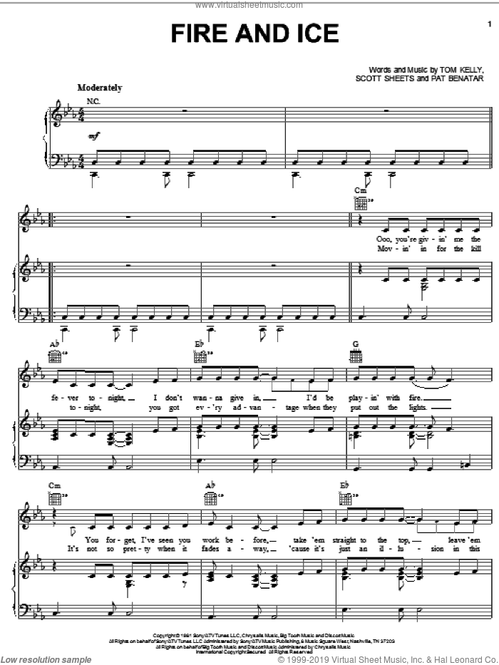Fire And Ice sheet music for voice, piano or guitar by Pat Benatar, Scott Sheets and Tom Kelly, intermediate skill level
