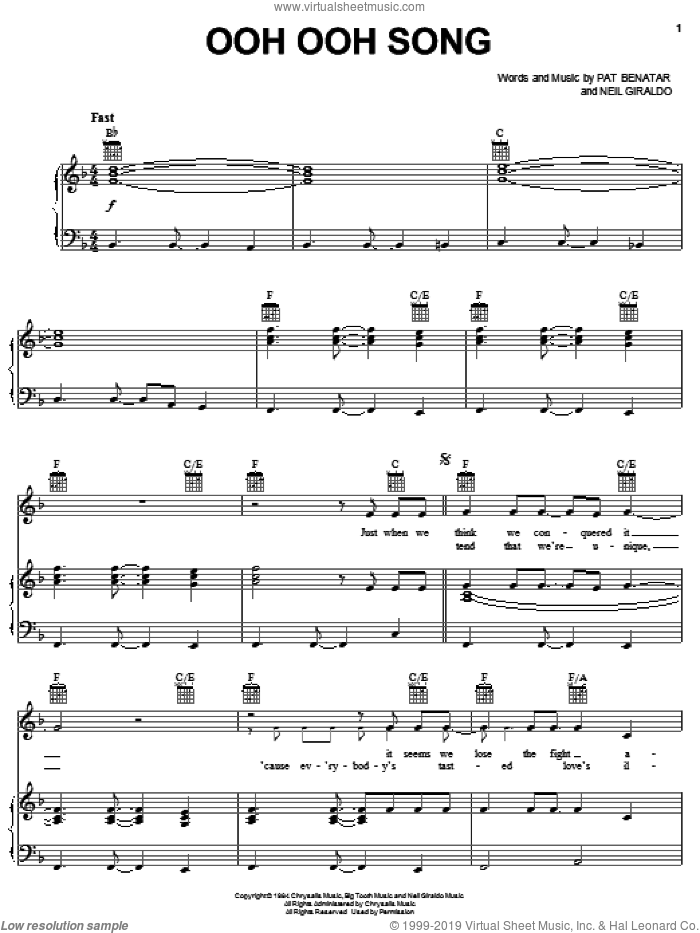 Ooh Ooh Song sheet music for voice, piano or guitar by Pat Benatar and Neil Giraldo, intermediate skill level