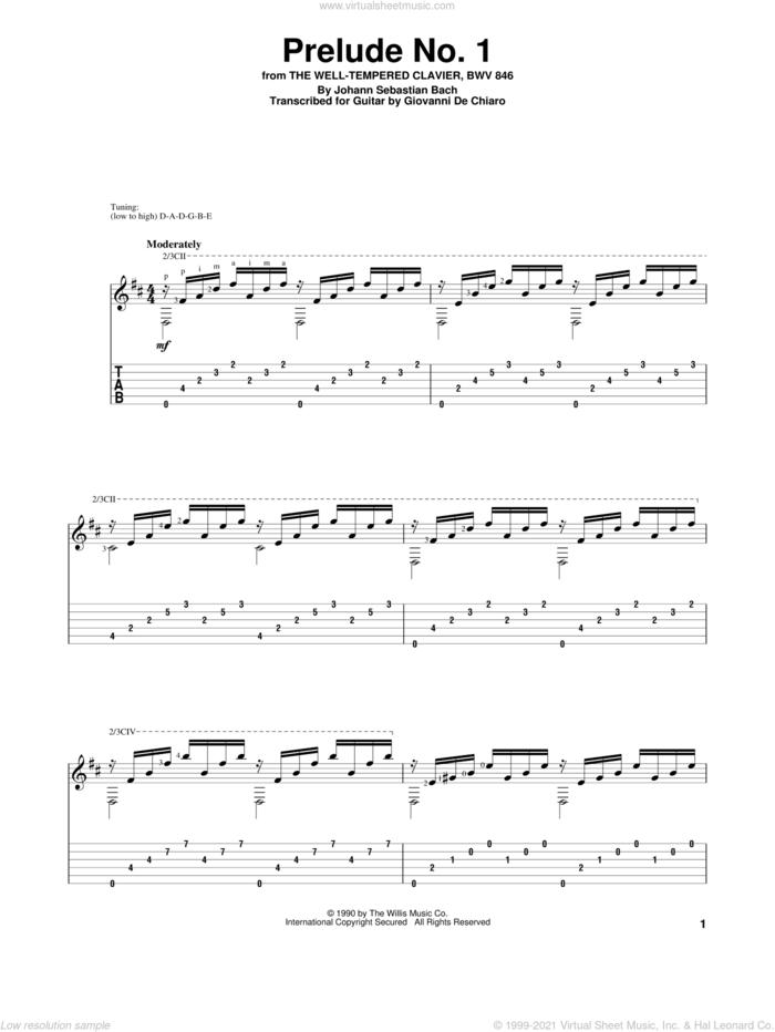Prelude No. 1 sheet music for guitar solo by Johann Sebastian Bach and Giovanni De Chiaro, classical score, intermediate skill level
