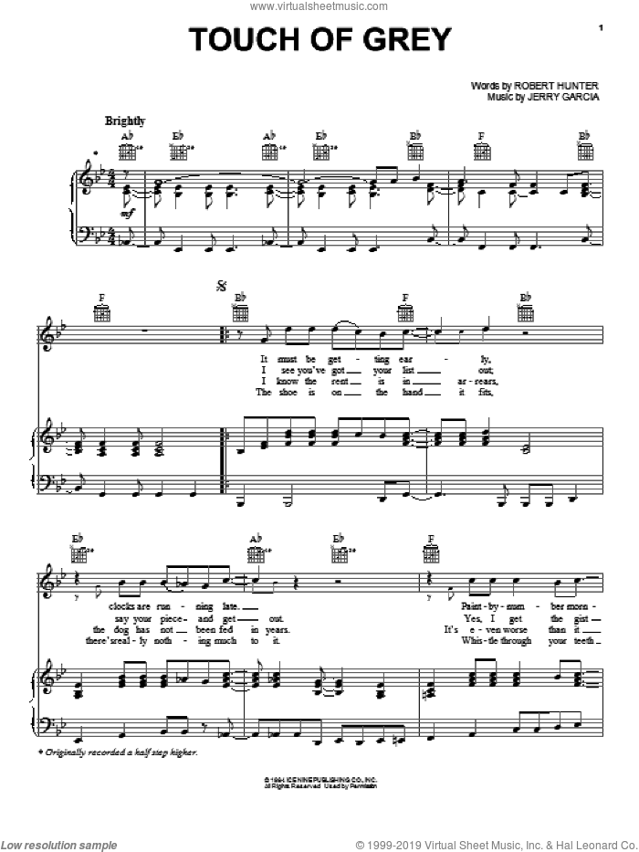 Touch Of Grey sheet music for voice, piano or guitar by Grateful Dead, Jerry Garcia and Robert Hunter, intermediate skill level