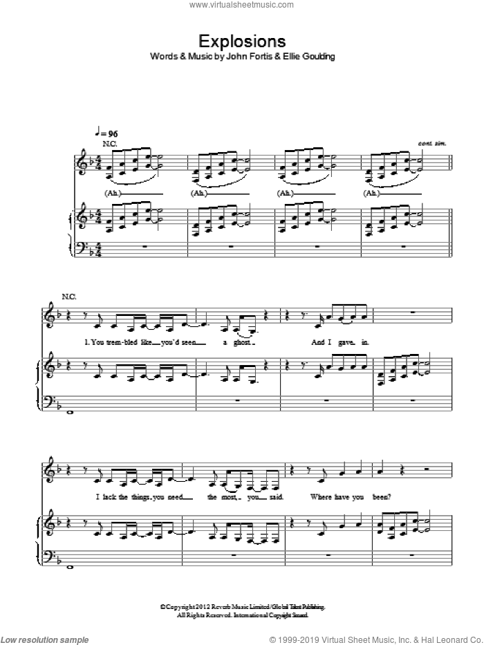Explosions sheet music for voice, piano or guitar by Ellie Goulding and John Fortis, intermediate skill level