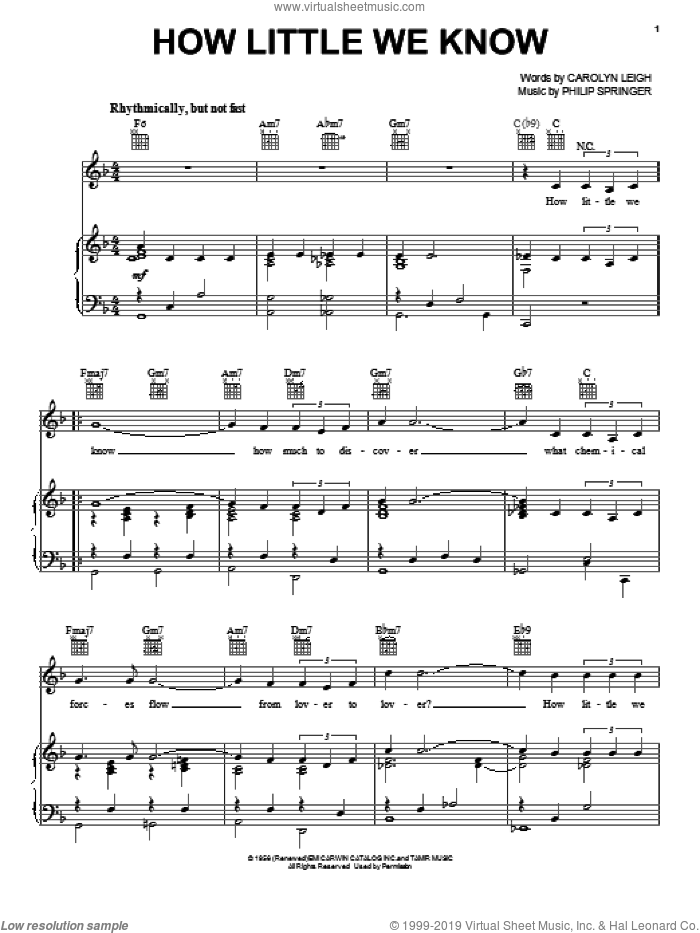 How Little We Know sheet music for voice, piano or guitar by Frank Sinatra, Carolyn Leigh and Philip Springer, intermediate skill level