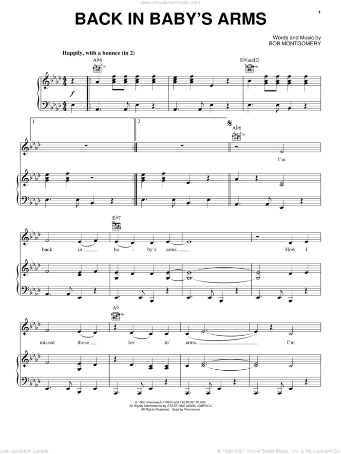 Back In Baby's Arms sheet music for voice, piano or guitar by Patsy Cline and Bob Montgomery, intermediate skill level