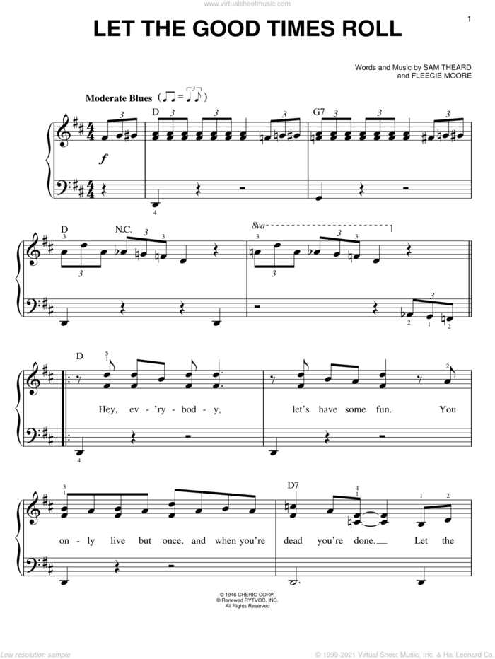 Let The Good Times Roll sheet music for piano solo by Ray Charles, B.B. King, Ray (Movie), Fleecie Moore and Sam Theard, easy skill level