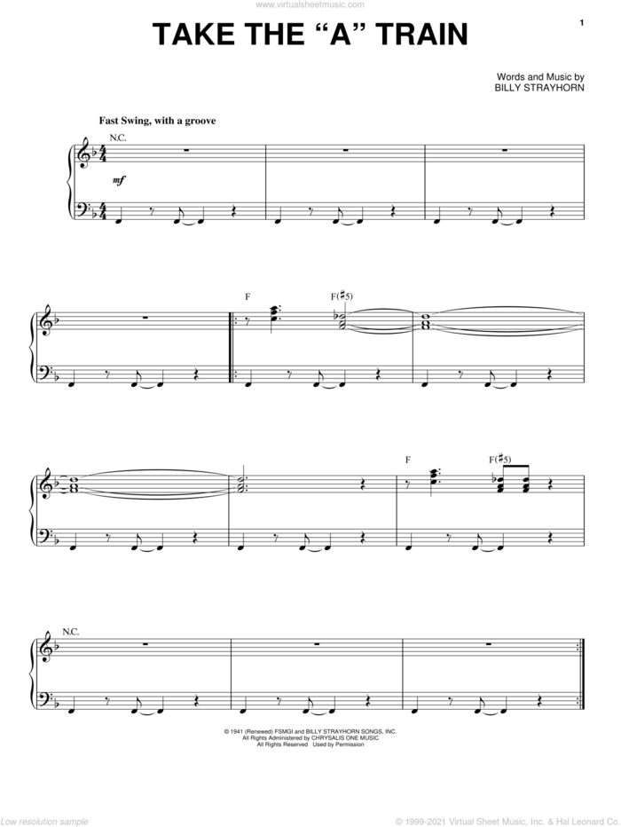 Take The 'A' Train sheet music for voice and piano by Nikki Yankofsky and Billy Strayhorn, intermediate skill level