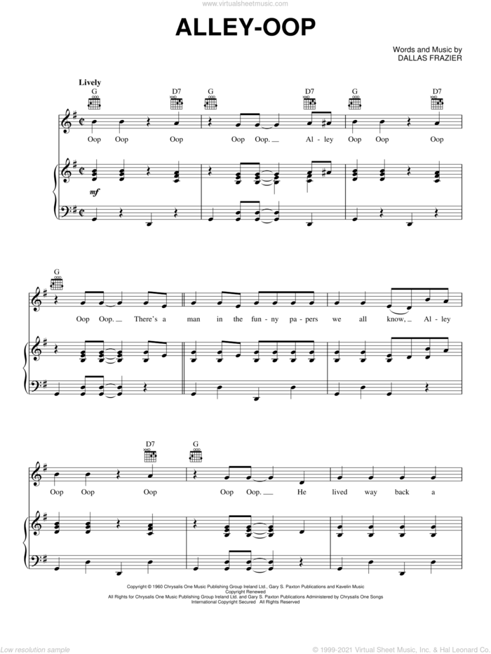 Alley-oop sheet music for voice, piano or guitar by Dallas Frazier, intermediate skill level