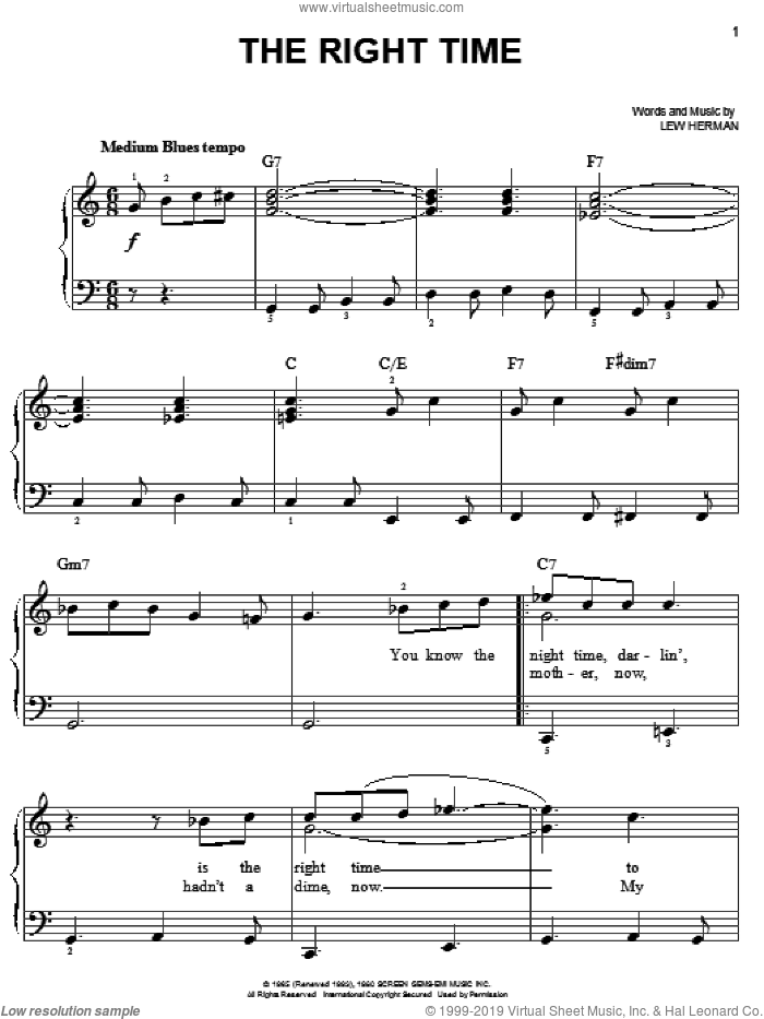 The Right Time sheet music for piano solo by Ray Charles, Ray (Movie) and Lew Herman, easy skill level