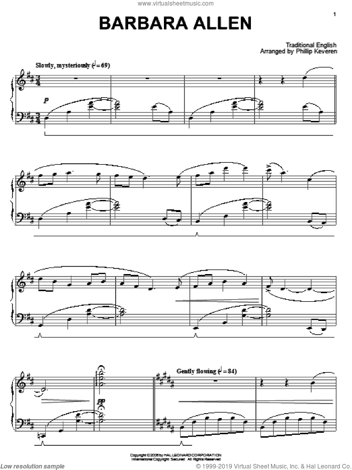 Barbara Allen sheet music for piano solo by Traditional English Ballad and Miscellaneous, intermediate skill level