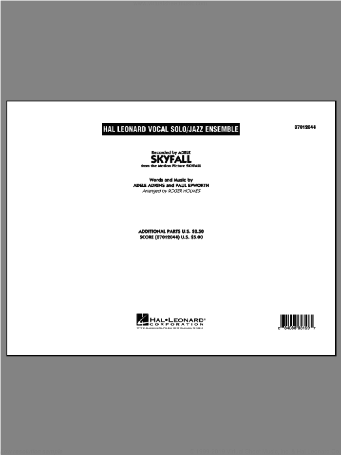 Skyfall (COMPLETE) sheet music for jazz band by Adele and Roger Holmes, intermediate skill level