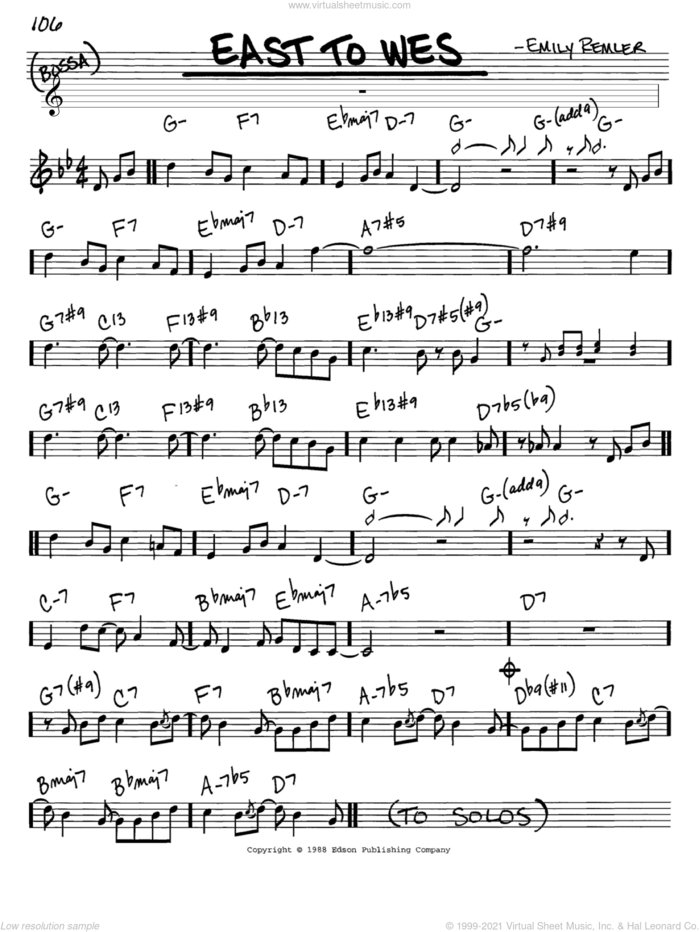 East To Wes sheet music for voice and other instruments (in C) by Emily Remler, intermediate skill level