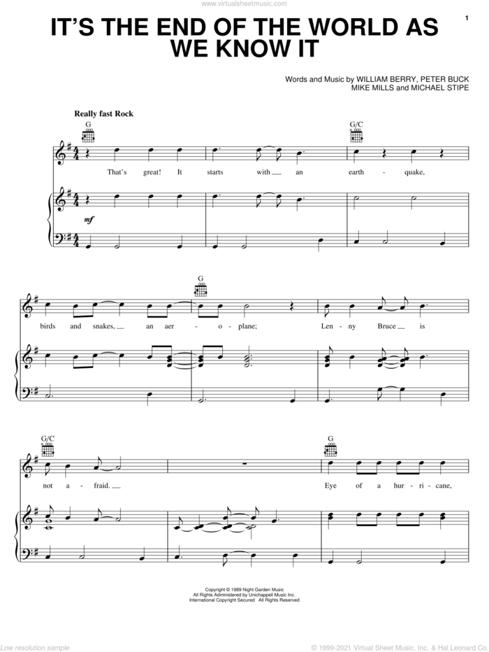 It's The End Of The World As We Know It sheet music for voice, piano or guitar by R.E.M., Chicken Little (Movie), Mike Mills, Peter Buck and William Berry, intermediate skill level