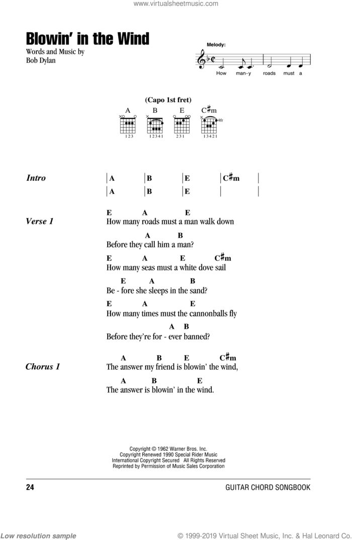 Blowin' In The Wind sheet music for guitar (chords) by Peter, Paul & Mary, intermediate skill level