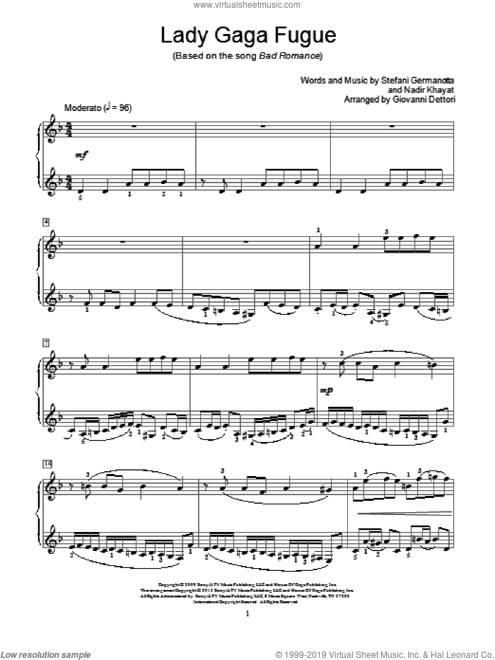 Lady Gaga Fugue sheet music for piano solo (elementary) by Lady Gaga and Giovanni Dettori, beginner piano (elementary)
