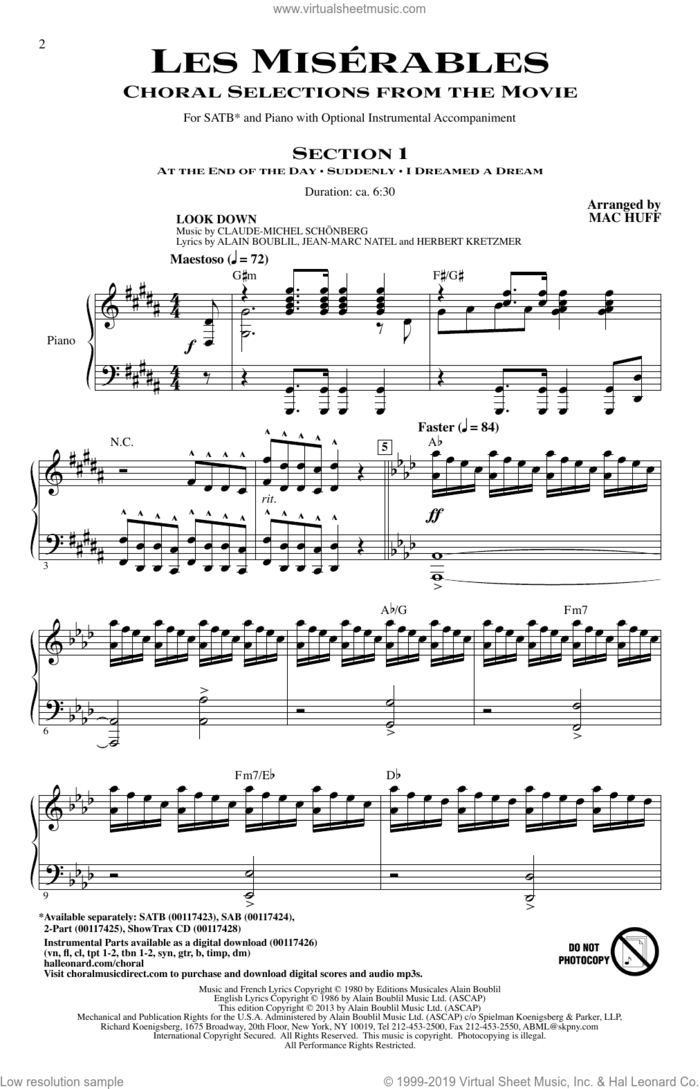 Les Miserables (Choral Selections From The Movie) (arr. Mac Huff) sheet music for choir (SATB: soprano, alto, tenor, bass) by Boublil and Schonberg, Claude-Michel Schonberg, Alain Boublil, Les Miserables (Movie) and Mac Huff, intermediate skill level