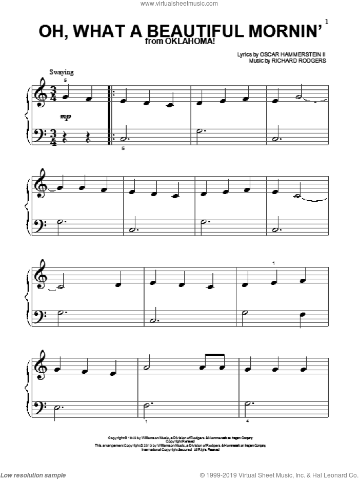 Oh, What A Beautiful Mornin' (from Oklahoma!) sheet music for piano solo (big note book) by Rodgers & Hammerstein, Oscar II Hammerstein and Richard Rodgers, easy piano (big note book)