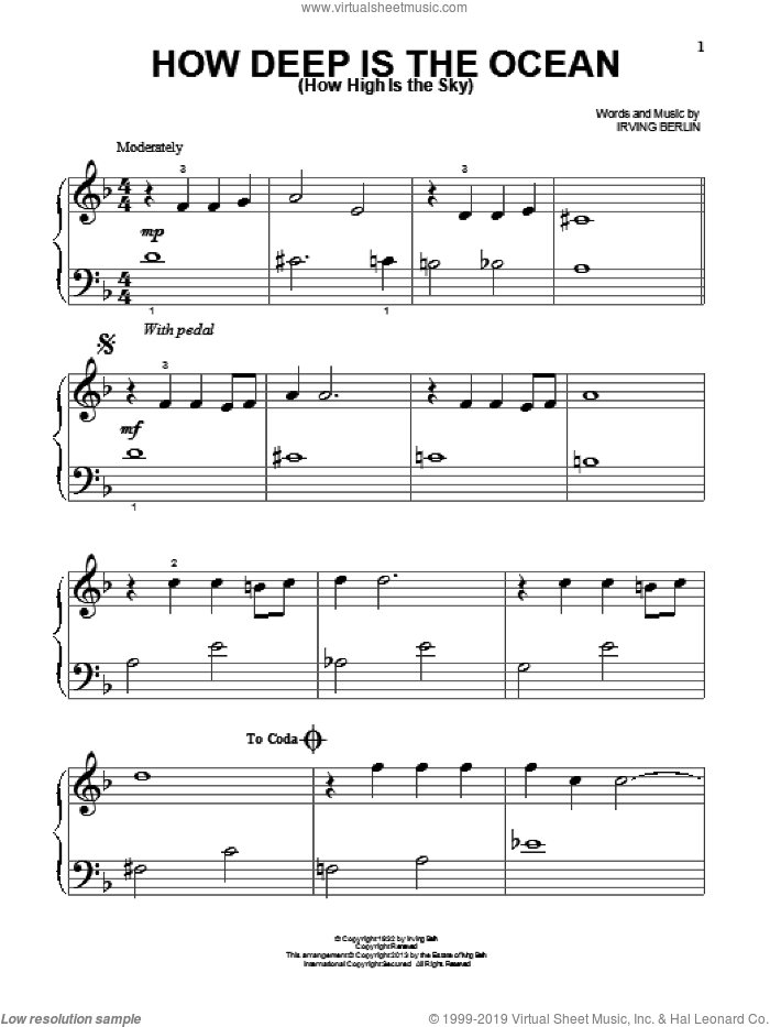 How Deep Is The Ocean (How High Is The Sky) sheet music for piano solo (big note book) by Irving Berlin and Ben Webster, easy piano (big note book)