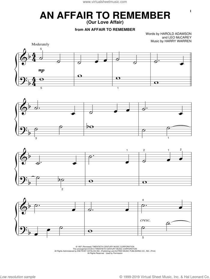 An Affair To Remember (Our Love Affair) sheet music for piano solo (big note book) by Harry Warren, Harold Adamson and Leo McCarey, easy piano (big note book)
