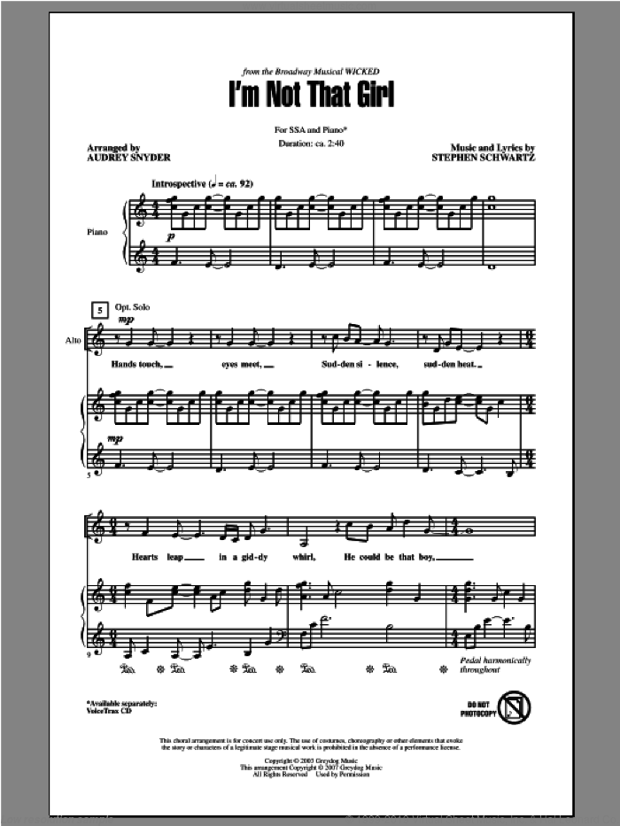 I'm Not That Girl (from Wicked) sheet music for choir (SSA: soprano, alto) by Stephen Schwartz and Audrey Snyder, intermediate skill level