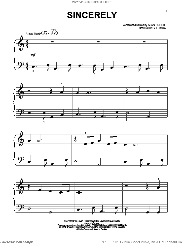 Sincerely sheet music for piano solo (big note book) by Moonglows, The Moonglows, Harvey Fuqua and McGuire Sisters, easy piano (big note book)