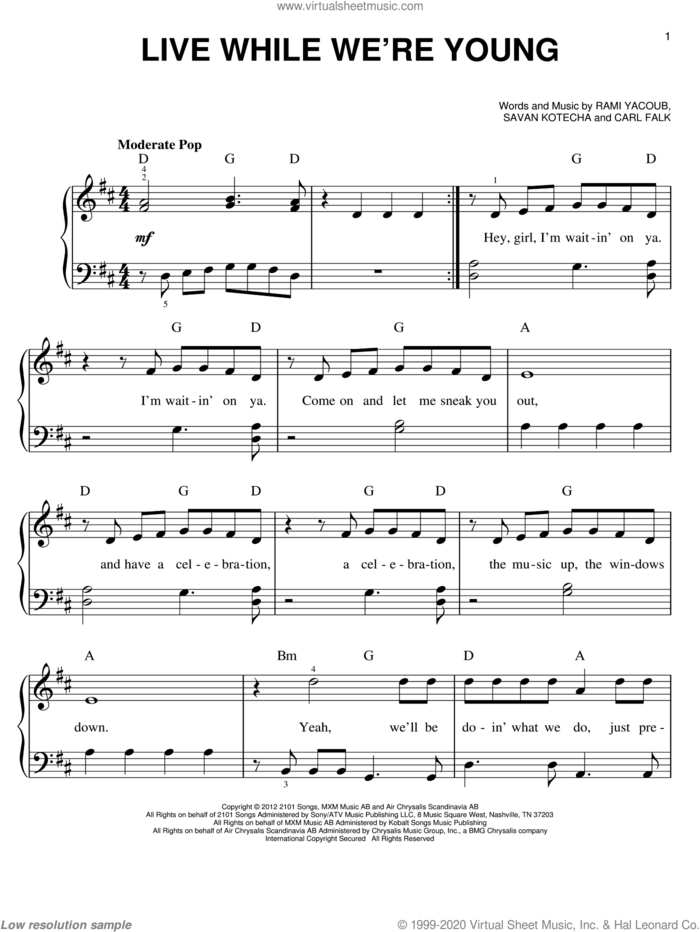 Live While We're Young sheet music for piano solo by One Direction, easy skill level