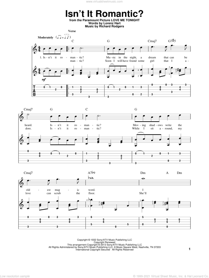 Isn't It Romantic? sheet music for guitar solo by Rodgers & Hart, Lorenz Hart, Richard Rodgers and Shirley Horn, intermediate skill level