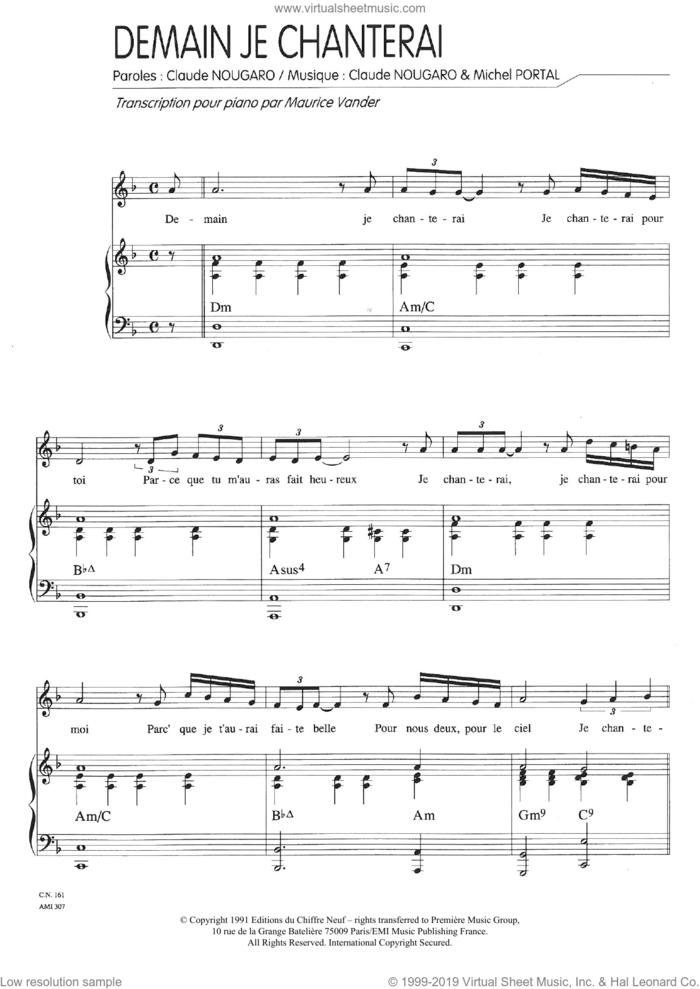 Demain Je Chanterai sheet music for voice and piano by Claude Nougaro and Michel Portal, intermediate skill level