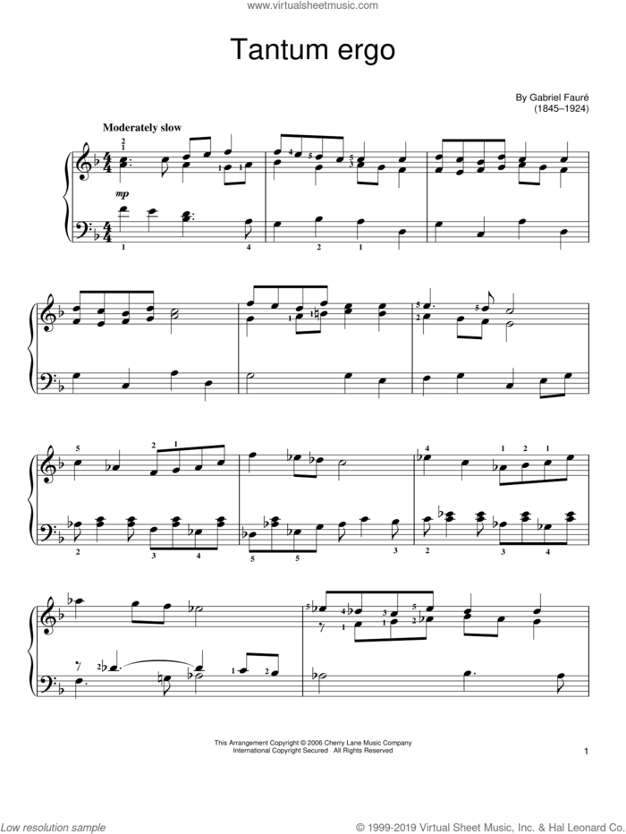 Tantum Ergo sheet music for piano solo by Gabriel Faure, classical score, easy skill level
