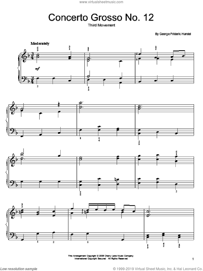 Larghetto sheet music for piano solo by George Frideric Handel, classical wedding score, easy skill level