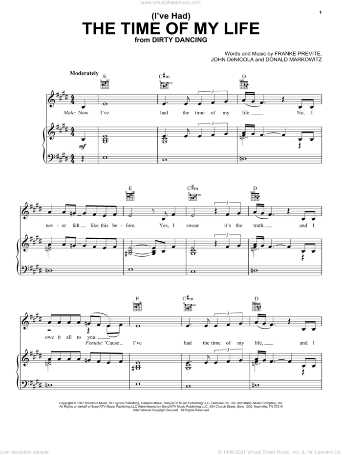 (I've Had) The Time Of My Life sheet music for voice, piano or guitar by Bill Medley & Jennifer Warnes, Bill Medley, Dirty Dancing (Movie), Jennifer Warnes, Donald Markowitz, Franke Previte and John DeNicola, intermediate skill level