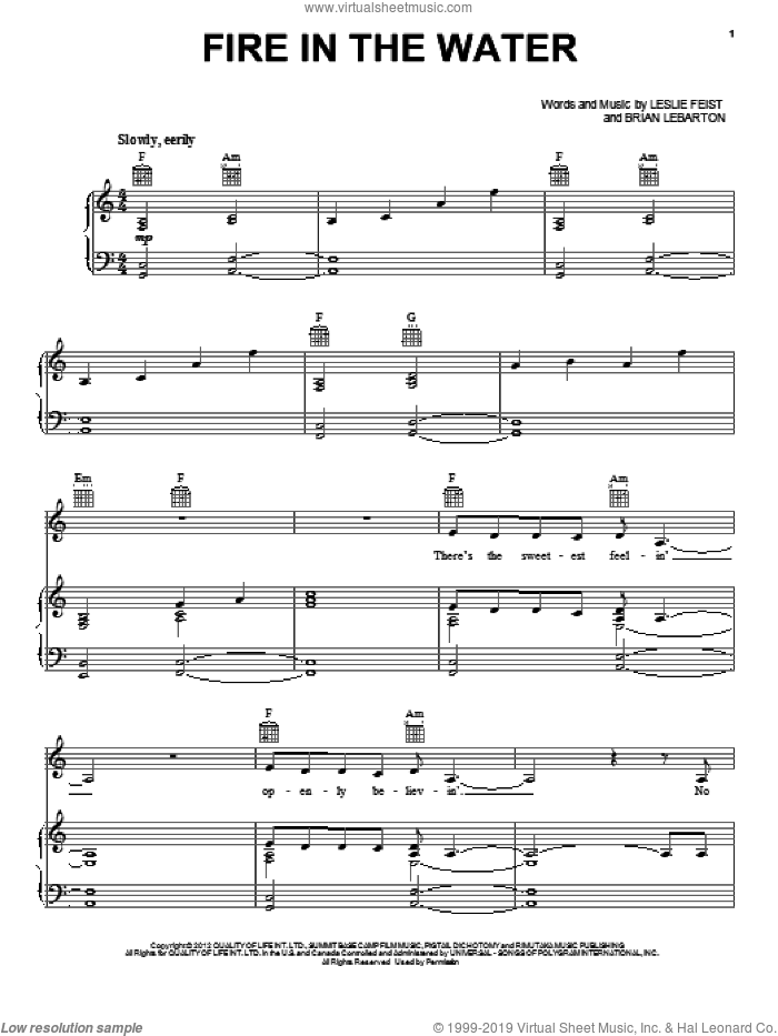 Fire In The Water sheet music for voice, piano or guitar by Leslie Feist and Twilight: Breaking Dawn Part 2 (Movie), intermediate skill level