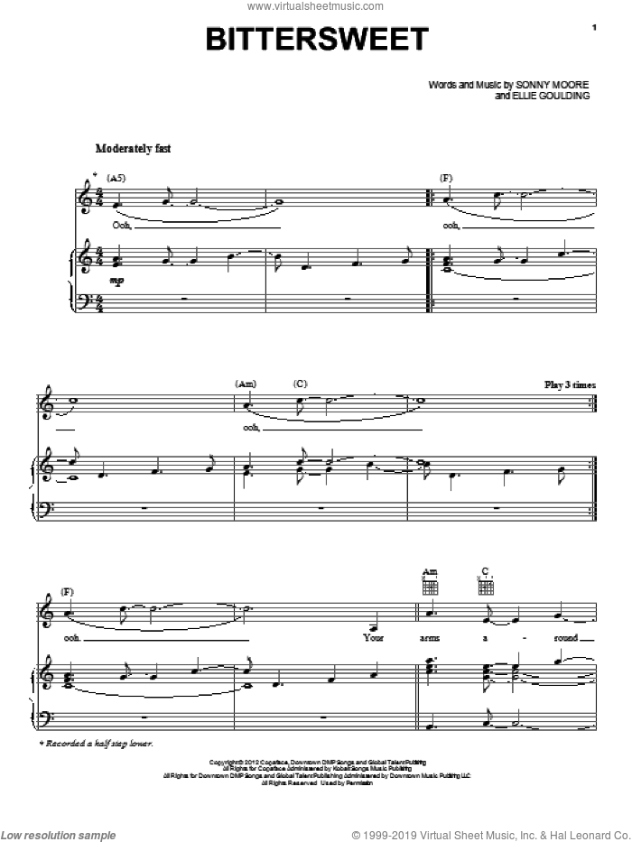 Bittersweet sheet music for voice, piano or guitar by Ellie Goulding, Sonny Moore and Twilight: Breaking Dawn Part 2 (Movie), intermediate skill level