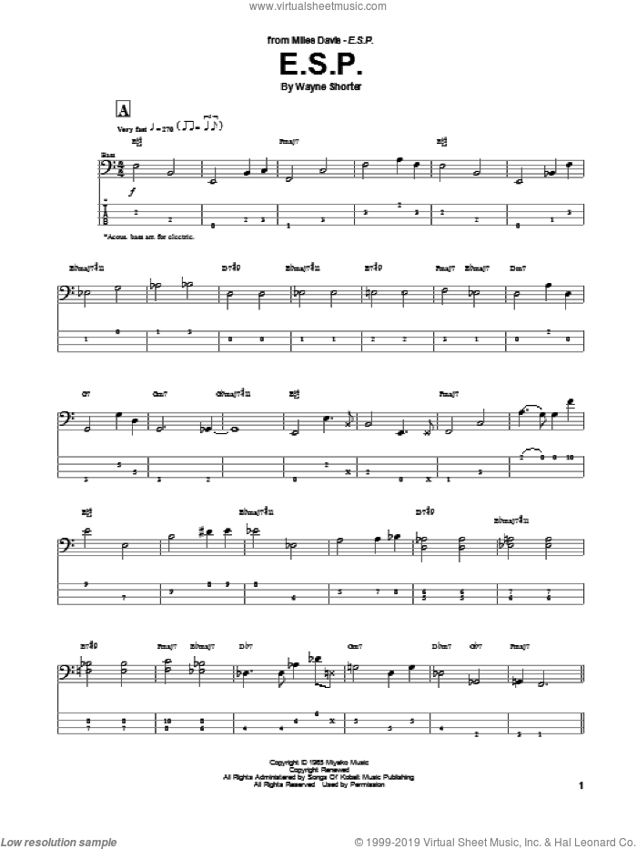 E.S.P. sheet music for bass (tablature) (bass guitar) by Wayne Shorter, intermediate skill level