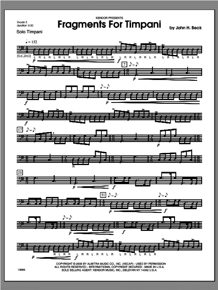 Fragments For Timpani sheet music for percussions by Beck Hansen, classical score, intermediate skill level