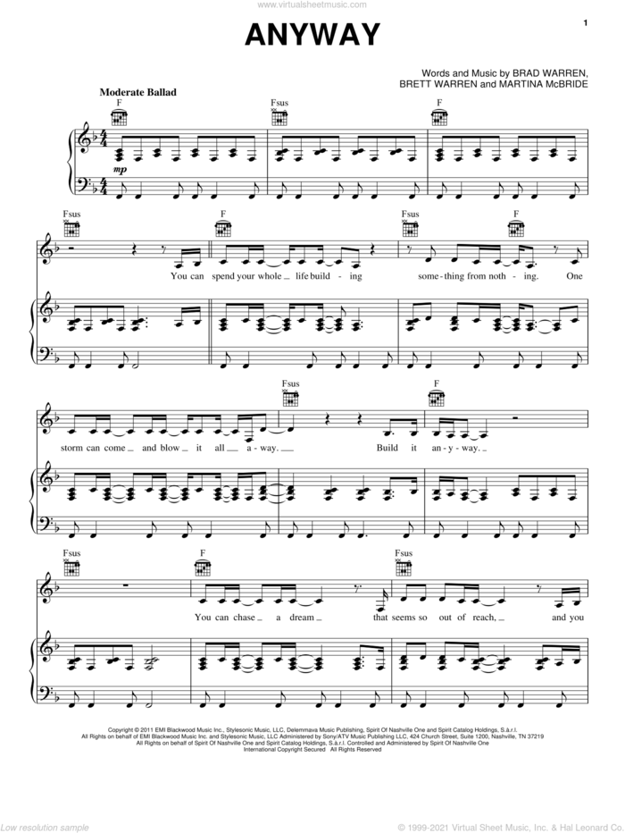 Anyway sheet music for voice, piano or guitar by Martina McBride, intermediate skill level