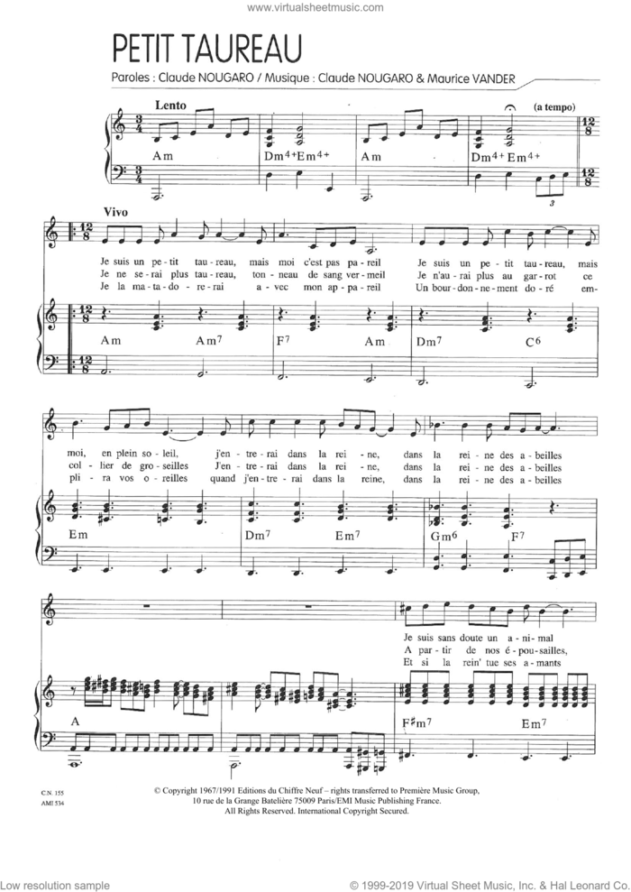 Un Petit Taureau sheet music for voice and piano by Claude Nougaro and Maurice Vanderschueren, intermediate skill level